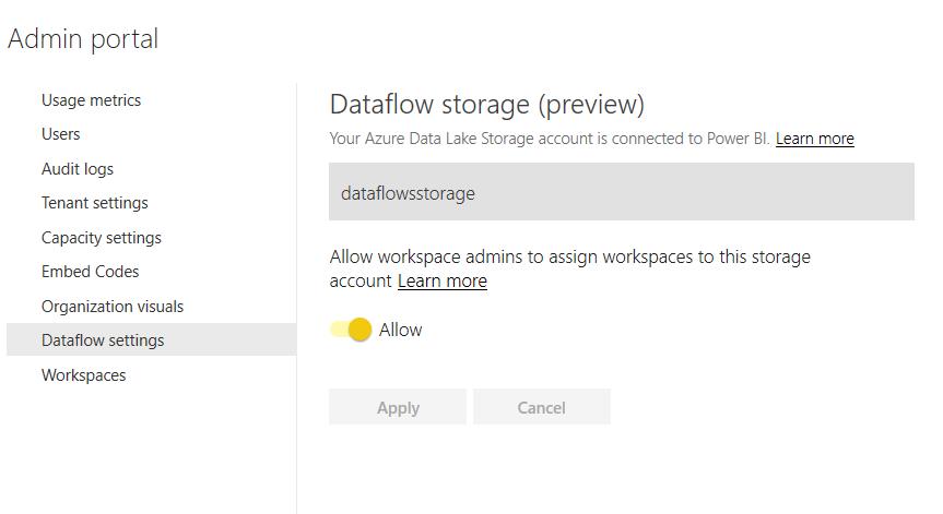 Power BI Dataflow preview Admin-portaalissa